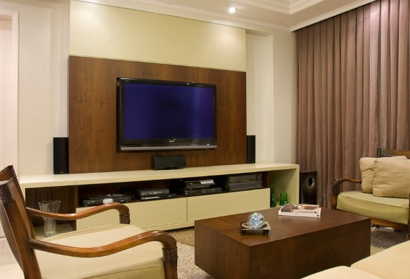 Sala de tv moderna e decorada - Sala home theatre ...