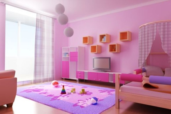 Decoração simples para quarto de meninas 001