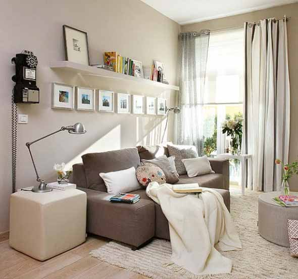 Ideias simples para decorar salas pequenas for Wanddekoration wohnzimmer