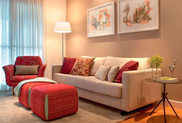 Sala De Estar Marrom Com Vermelho ~ Ideias simples para decorar salas pequenas 011