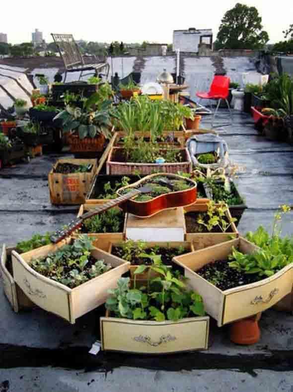 Canteiro de flores criativo para varanda e jardim 009