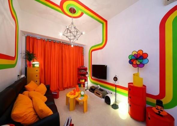 Cortinas coloridas na decoração 004