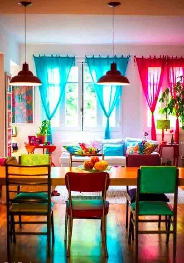 Cortinas coloridas na decoração 005