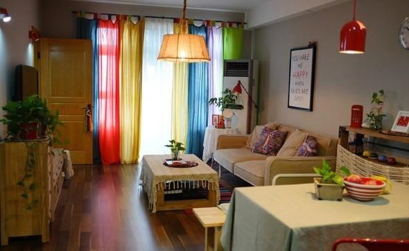 Cortinas coloridas na decoração 008