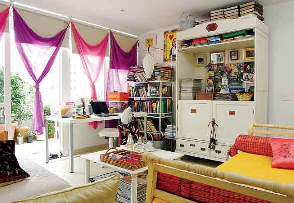 Cortinas coloridas na decoração 012