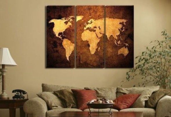 Mapa-múndi na decoração 020