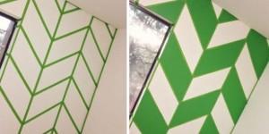 Pintura criativa com uso de fita adesiva 001
