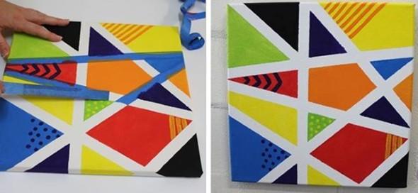 Pintura criativa com uso de fita adesiva 012