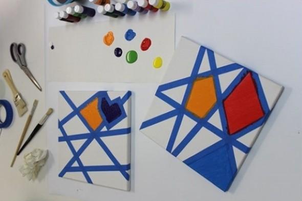 Pintura criativa com uso de fita adesiva 013