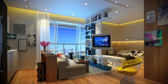 Apartamento pequeno com ambientes integrados 001