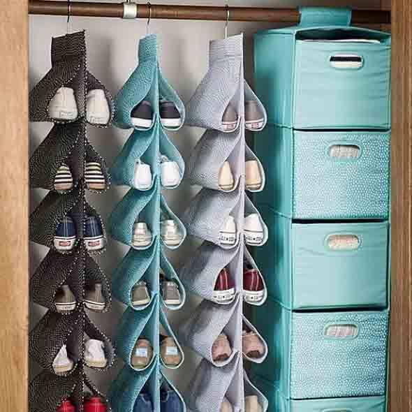 Ideias criativas para organizar e guardar sapatos 001