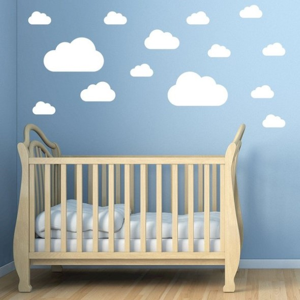 Quarto decorado com nuvens 002