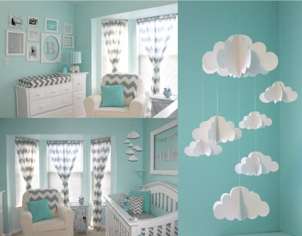 Quarto decorado com nuvens 003