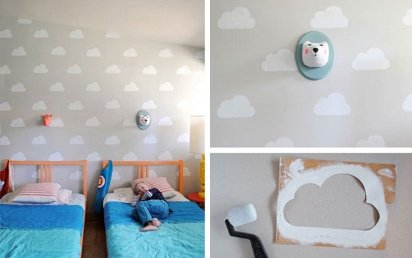 Quarto decorado com nuvens 011