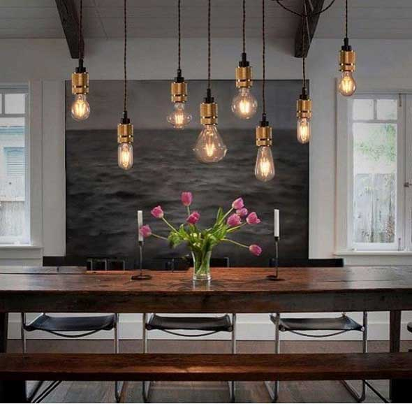 Iluminação com lâmpadas vintage na decoração 003