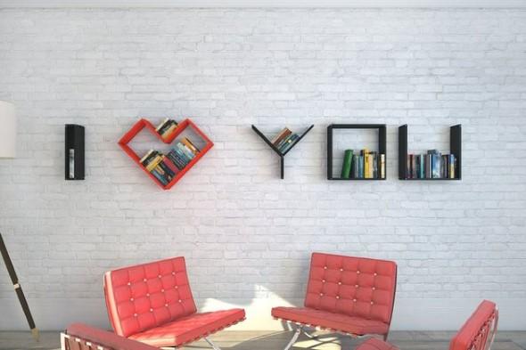 Prateleiras e estantes com formato de letras 003