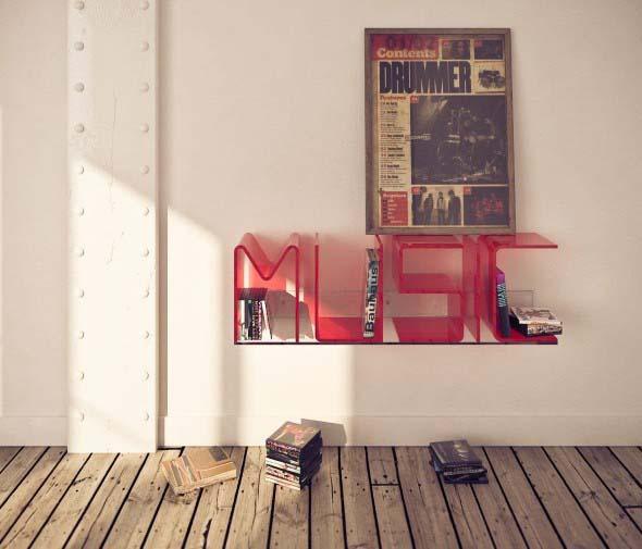 Prateleiras e estantes com formato de letras 017