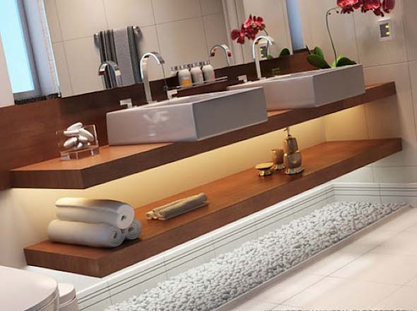 Banheiro de casal charmoso na decoração 001
