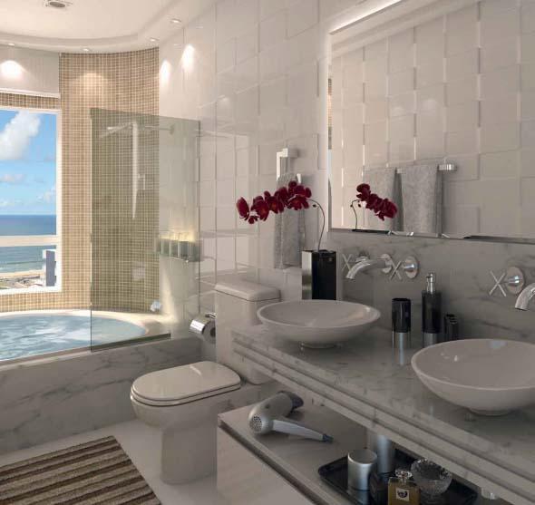 Banheiro de casal charmoso na decoração 007
