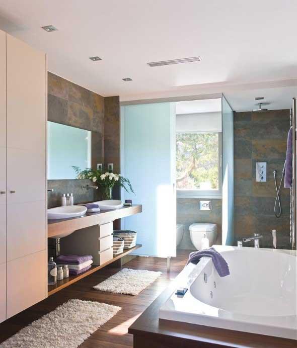 Banheiro de casal charmoso na decoração 019