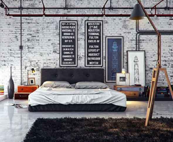Decoração industrial em quarto masculino 006