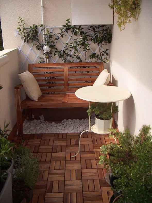 Decks de madeira na varanda 007