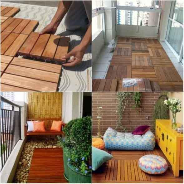 Decks de madeira na varanda 010