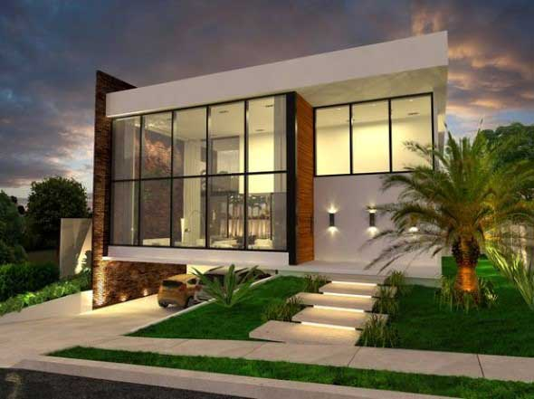 Fachadas de casa com vidros 011