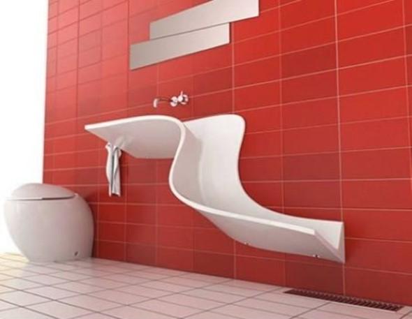 Pias de banheiro com estilo futurista 001