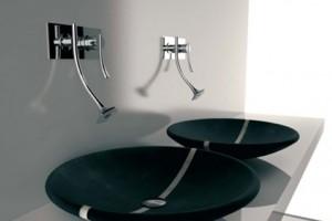 Pias de banheiro com estilo futurista 010