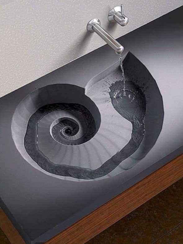 Pias de banheiro com estilo futurista 011