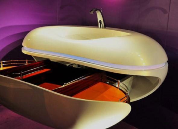 Pias de banheiro com estilo futurista 015