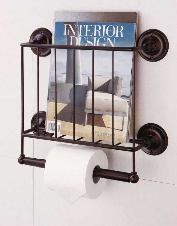 Suporte para jornais e revistas no banheiro 004