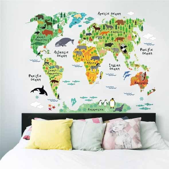 Decorar o quarto com mapa mundi 003
