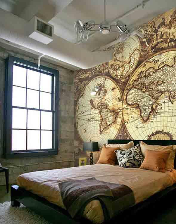 Decorar o quarto com mapa mundi 011