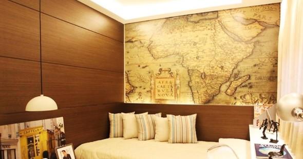 Decorar o quarto com mapa mundi 014