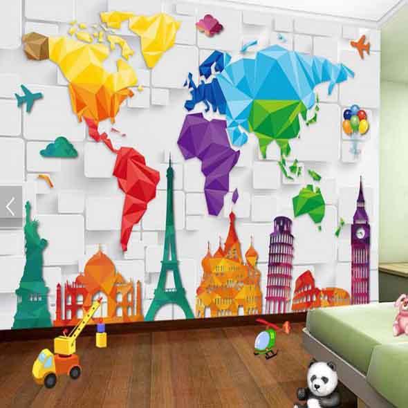 Decorar o quarto com mapa mundi 019