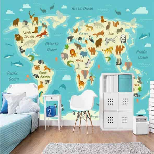 Decorar o quarto com mapa mundi 020