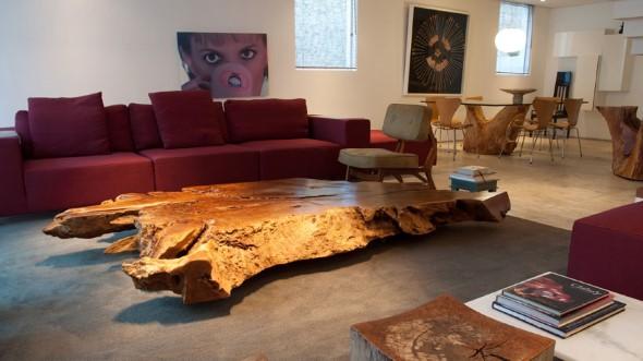 Madeira rústica para decorar a sala de estar 001