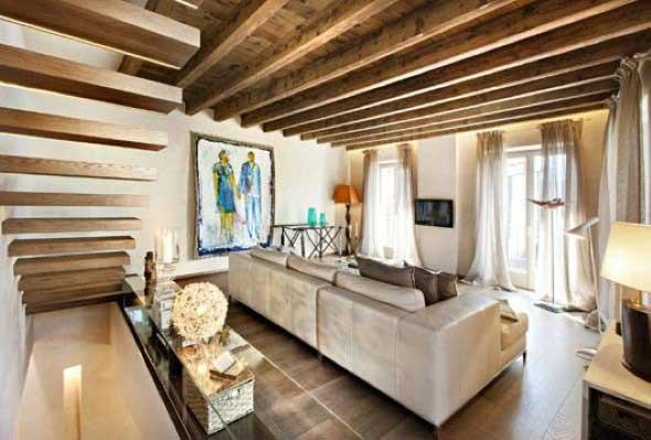 Madeira rústica para decorar a sala de estar 006