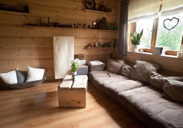 Madeira rústica para decorar a sala de estar 007
