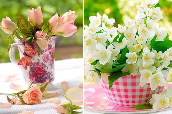 Como organizar flores com vasos artesanais 013