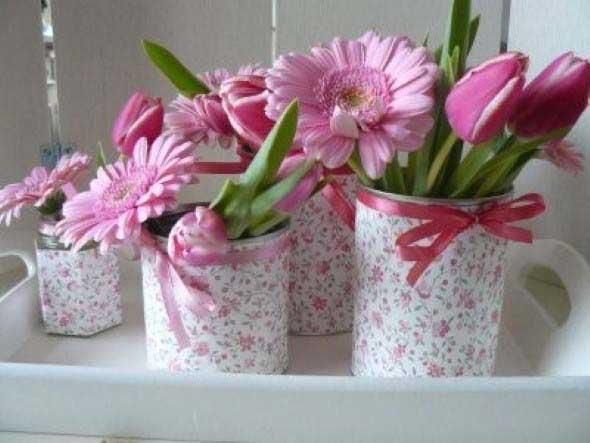 Como organizar flores com vasos artesanais 015