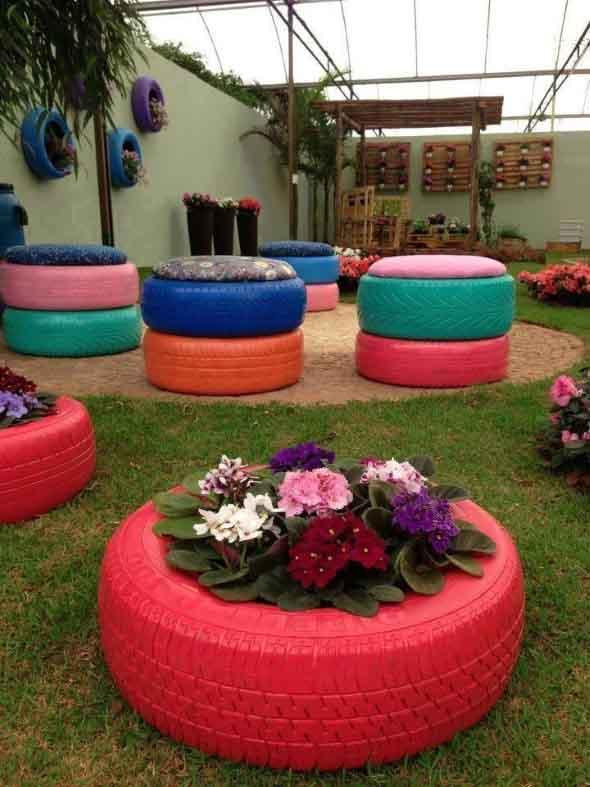 Ideias de decoração com pneus 004