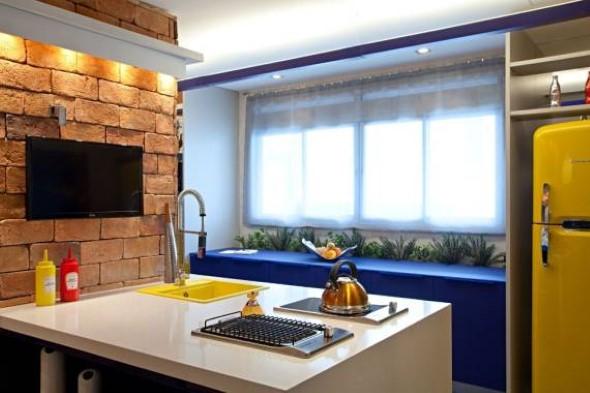 Tijolo aparente na decoração da cozinha 014