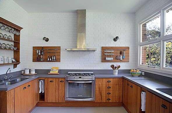 Tijolo aparente na decoração da cozinha 017