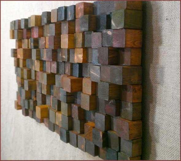 Como revestir paredes com blocos de madeira 010