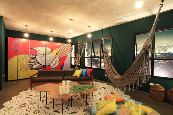 Rede para decorar a sala de estar 008