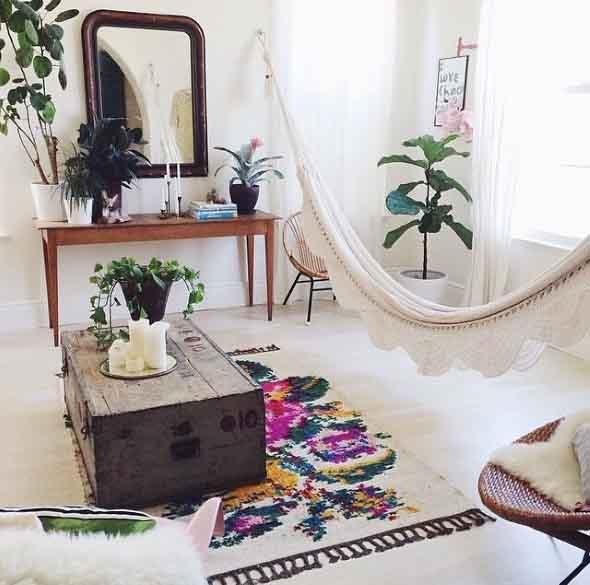 Rede para decorar a sala de estar 010