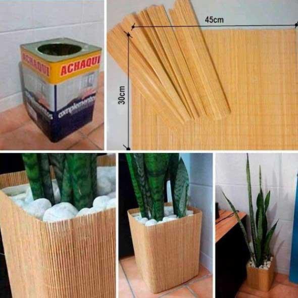 Vasos de plantas quadrados na decoração 012